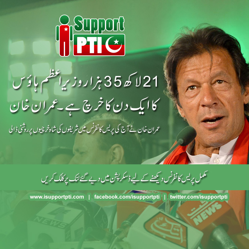 21 Lacks 35 thousands daily expense of PM house - says Imran Khan
